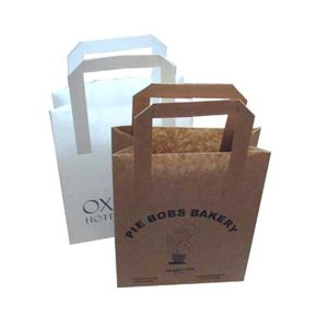 A brown and a white paper bag