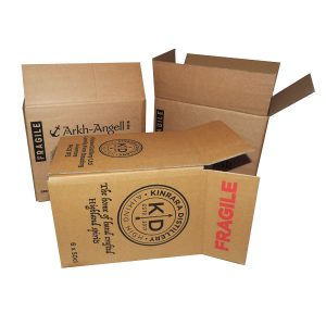 Three open brown cardboard boxes