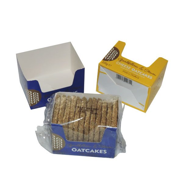 Oatcake packaging, one contains oatcakes.