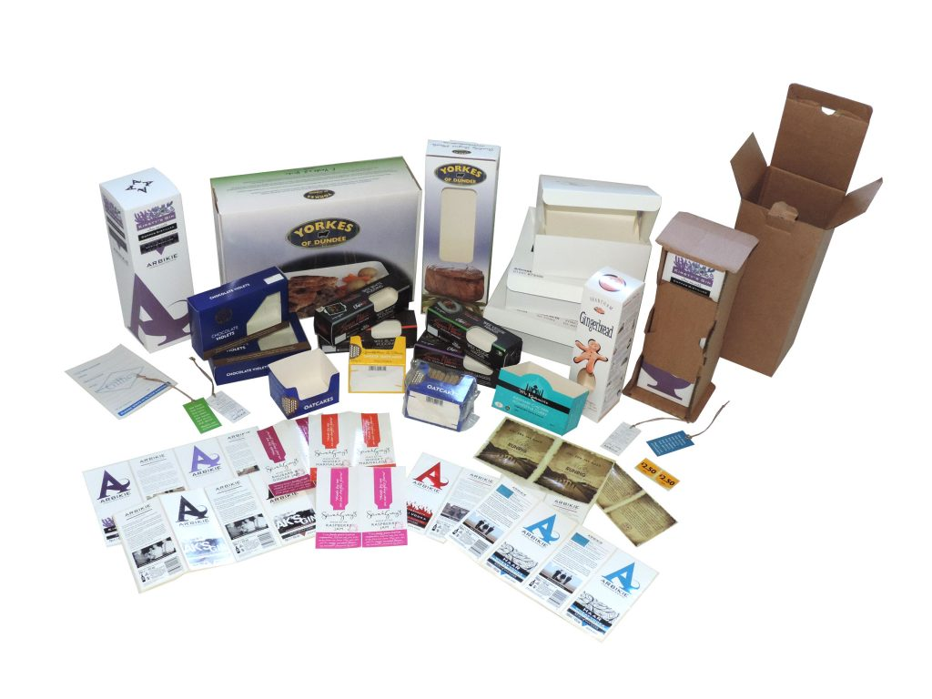 An array of print stickers and food packaging.
