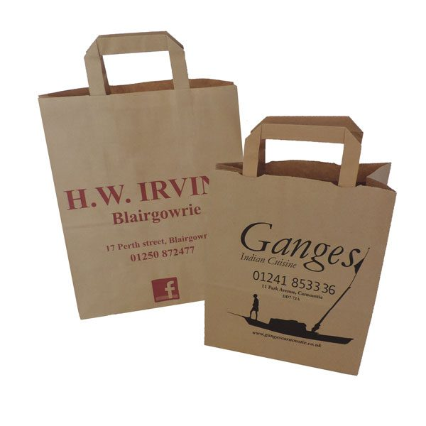 Two brown paper bags with tape handles.