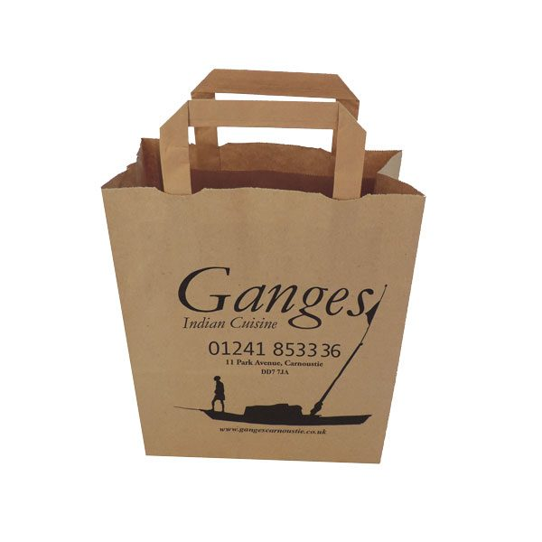 One brown paper food bag with tape handles.