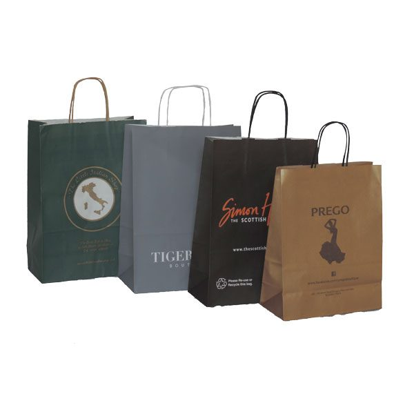 Four branded twisted paper handled bags. One each coloured green, grey, black, brown.