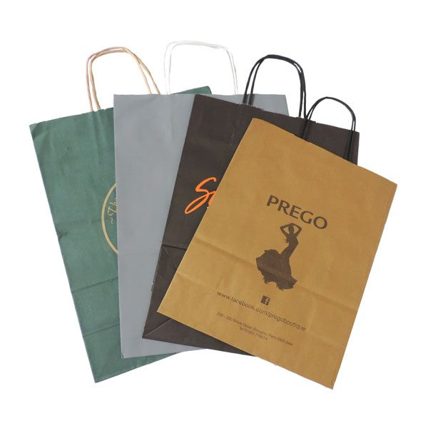 Four flat branded twisted paper handled bags. One each coloured green, grey, black, white.